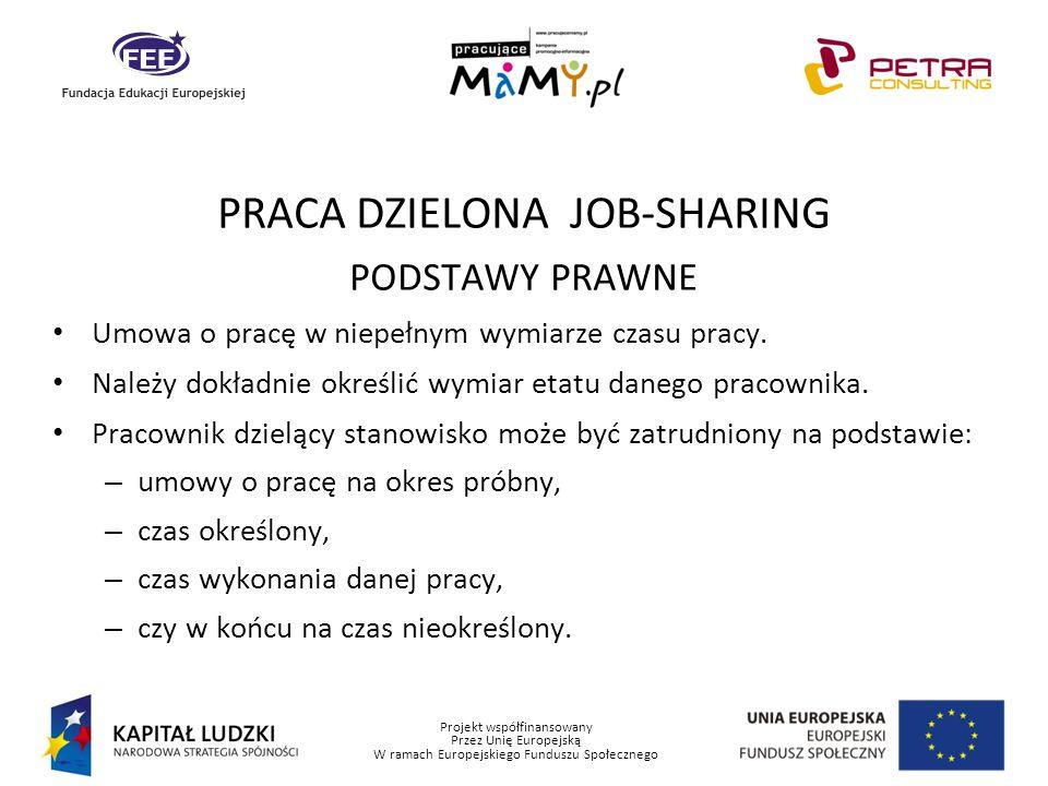 Projekt współfinansowany Przez Unię Europejską W ramach Europejskiego Funduszu Społecznego PRACA DZIELONA JOB-SHARING PODSTAWY PRAWNE Umowa o pracę w