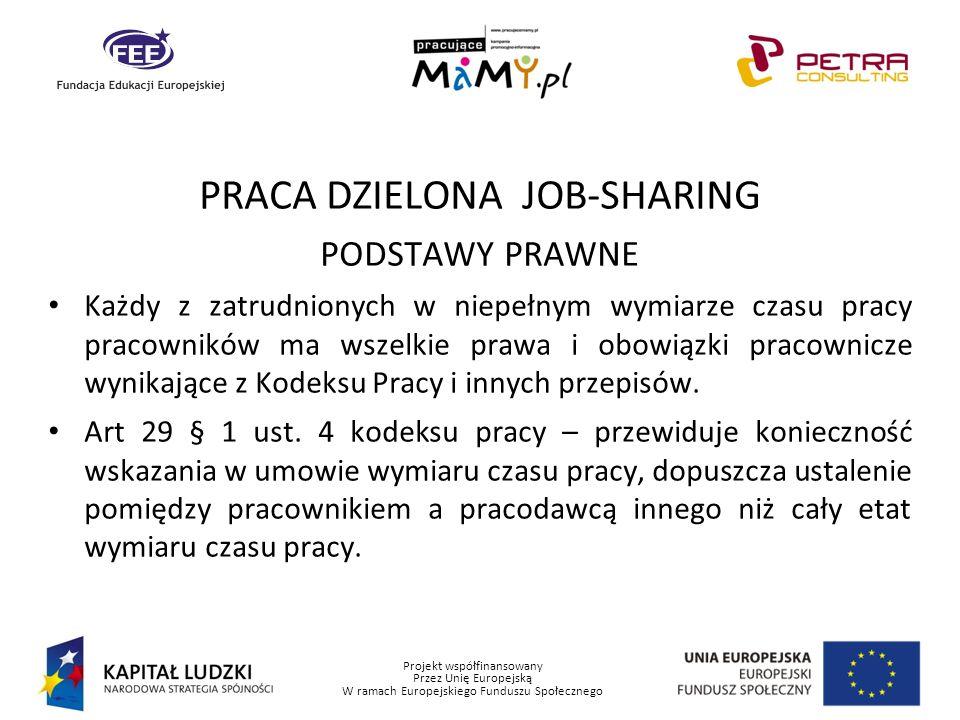 Projekt współfinansowany Przez Unię Europejską W ramach Europejskiego Funduszu Społecznego PRACA DZIELONA JOB-SHARING PODSTAWY PRAWNE Każdy z zatrudni