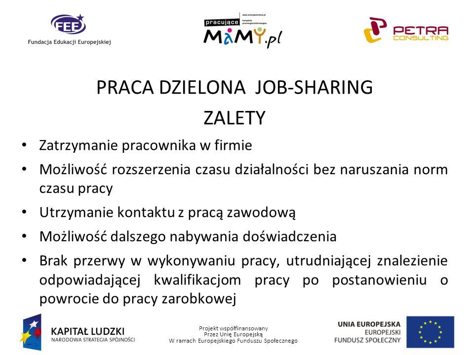Projekt współfinansowany Przez Unię Europejską W ramach Europejskiego Funduszu Społecznego PRACA DZIELONA JOB-SHARING ZALETY Zatrzymanie pracownika w