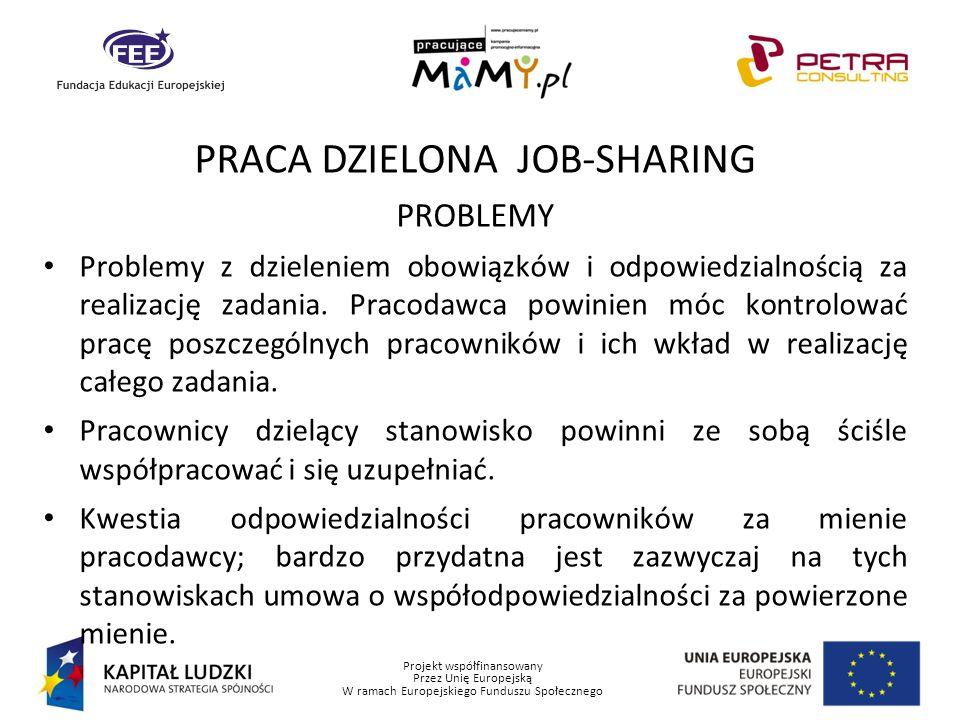 Projekt współfinansowany Przez Unię Europejską W ramach Europejskiego Funduszu Społecznego PRACA DZIELONA JOB-SHARING PROBLEMY Problemy z dzieleniem o