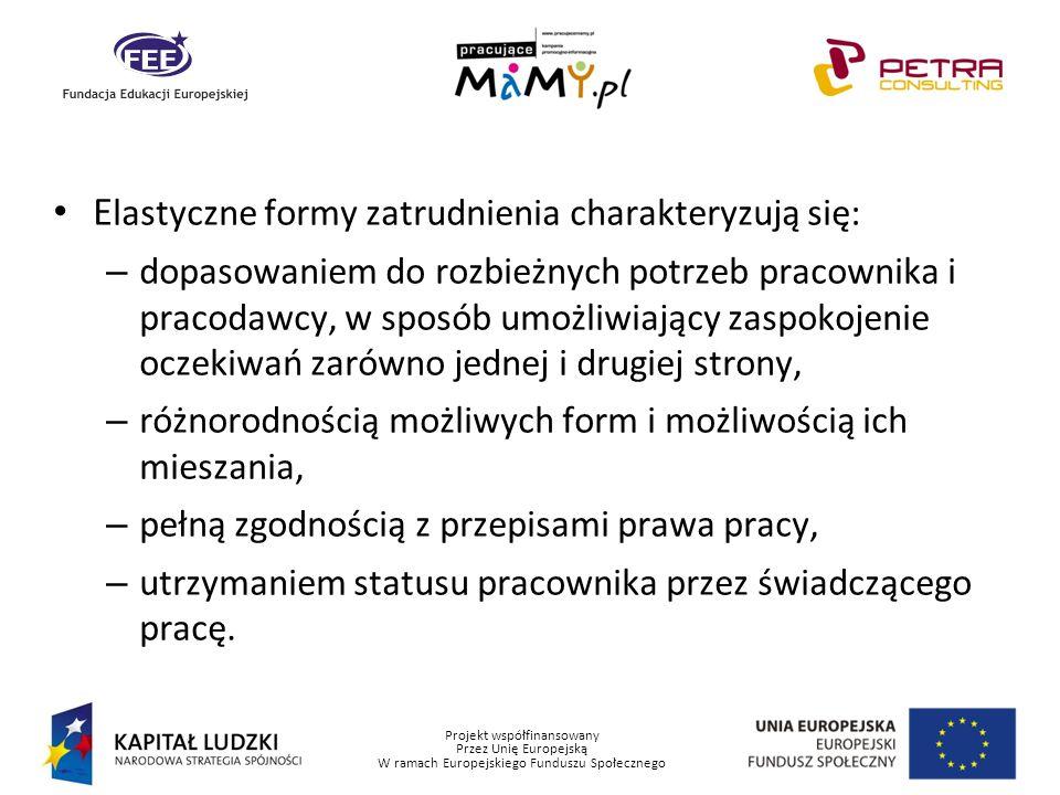 Projekt współfinansowany Przez Unię Europejską W ramach Europejskiego Funduszu Społecznego E lastyczne formy zatrudnienia charakteryzują się: – dopaso