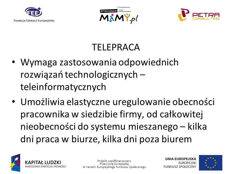 Projekt współfinansowany Przez Unię Europejską W ramach Europejskiego Funduszu Społecznego TELEPRACA Wymaga zastosowania odpowiednich rozwiązań techno