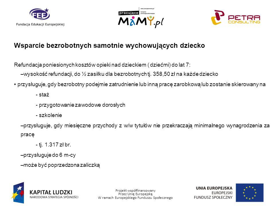 Projekt współfinansowany Przez Unię Europejską W ramach Europejskiego Funduszu Społecznego Wsparcie bezrobotnych samotnie wychowujących dziecko Refund