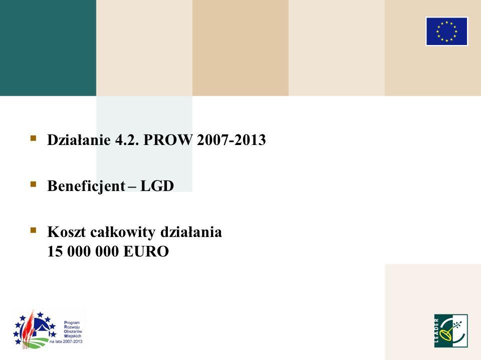 Działanie 4.2. PROW 2007-2013 Beneficjent – LGD Koszt całkowity działania 15 000 000 EURO