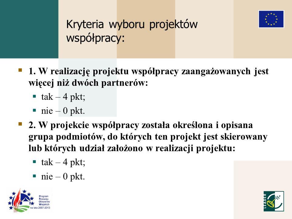 Kryteria wyboru projektów współpracy: 1.