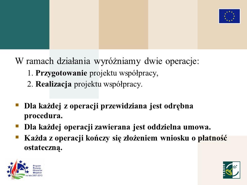 W ramach działania wyróżniamy dwie operacje: 1. Przygotowanie projektu współpracy, 2.