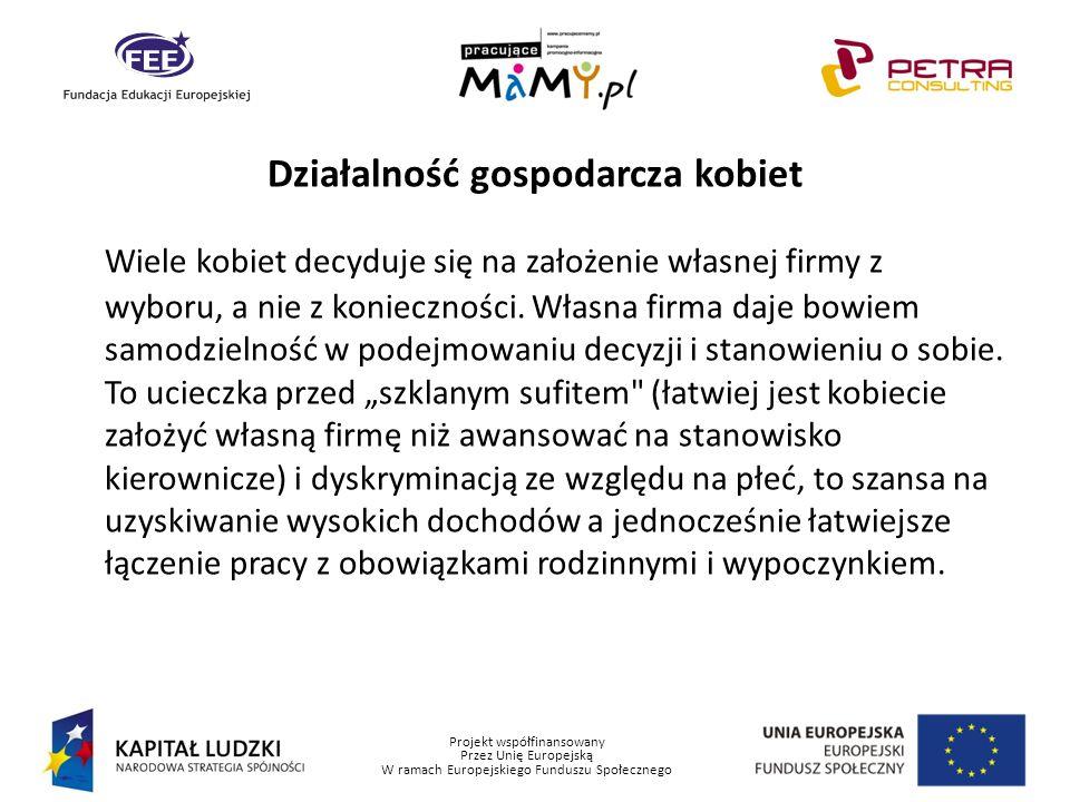 Projekt współfinansowany Przez Unię Europejską W ramach Europejskiego Funduszu Społecznego Działalność gospodarcza kobiet Wiele kobiet decyduje się na