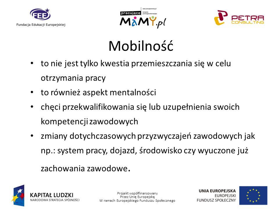 Projekt współfinansowany Przez Unię Europejską W ramach Europejskiego Funduszu Społecznego Mobilność to nie jest tylko kwestia przemieszczania się w c
