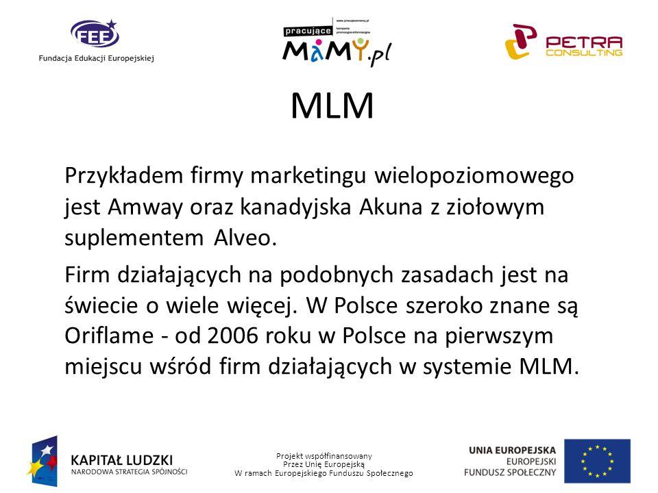 Projekt współfinansowany Przez Unię Europejską W ramach Europejskiego Funduszu Społecznego MLM Przykładem firmy marketingu wielopoziomowego jest Amway