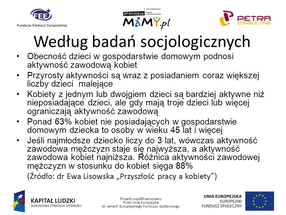 Projekt współfinansowany Przez Unię Europejską W ramach Europejskiego Funduszu Społecznego Według badań socjologicznych Obecność dzieci w gospodarstwi