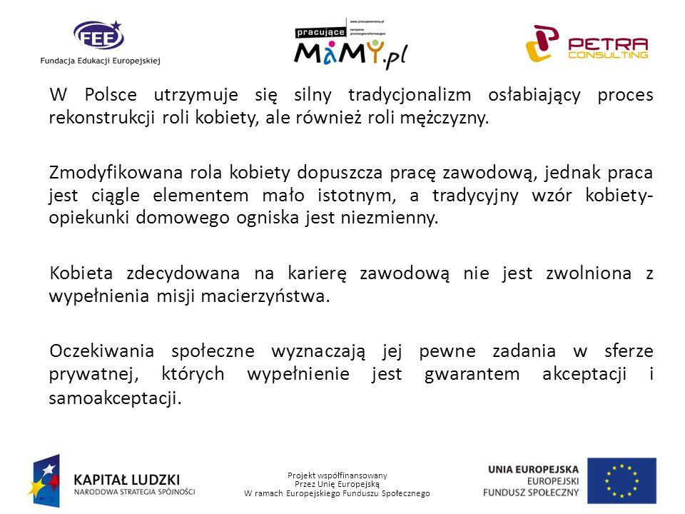 Projekt współfinansowany Przez Unię Europejską W ramach Europejskiego Funduszu Społecznego W Polsce utrzymuje się silny tradycjonalizm osłabiający pro
