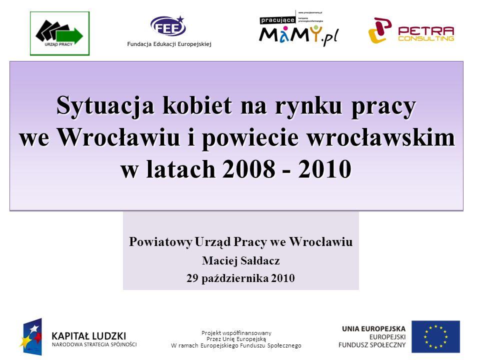 Projekt współfinansowany Przez Unię Europejską W ramach Europejskiego Funduszu Społecznego Stopa bezrobocia we Wrocławiu i powiecie wrocławskim Lata 2008-2010 (w %) Okres 31 grudzień 200831 grudzień 200931 marzec 201030 czerwiec 201030 sierpień 2010 Zasięg Polska 9,511,912,911,6 11,3 Województwo 10,012,513,812,4 12,1 Powiat Wrocławski Miasto Wrocław 3,4 3,3 5,5 5,0 6,3 5,7 5,9 5,5 5,8 5,6 Po okresie znacznego spadku bezrobocia w latach 2007-2008, także wśród kobiet, od roku 2009 na stępowało pogorszenie sytuacji na rynku pracy.