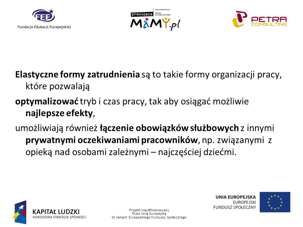 Projekt współfinansowany Przez Unię Europejską W ramach Europejskiego Funduszu Społecznego E lastyczne formy zatrudnienia charakteryzują się: – dopasowaniem do rozbieżnych potrzeb pracownika i pracodawcy, w sposób umożliwiający zaspokojenie oczekiwań zarówno jednej i drugiej strony, – różnorodnością możliwych form i możliwością ich mieszania, – pełną zgodnością z przepisami prawa pracy, – utrzymaniem statusu pracownika przez świadczącego pracę.