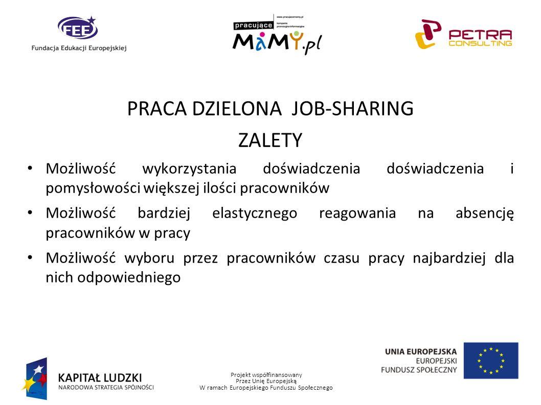 Projekt współfinansowany Przez Unię Europejską W ramach Europejskiego Funduszu Społecznego PRACA DZIELONA JOB-SHARING ZALETY Możliwość wykorzystania d