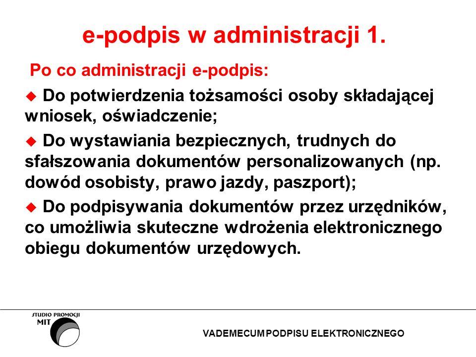 e-podpis w administracji 1. Po co administracji e-podpis: Do potwierdzenia tożsamości osoby składającej wniosek, oświadczenie; Do wystawiania bezpiecz