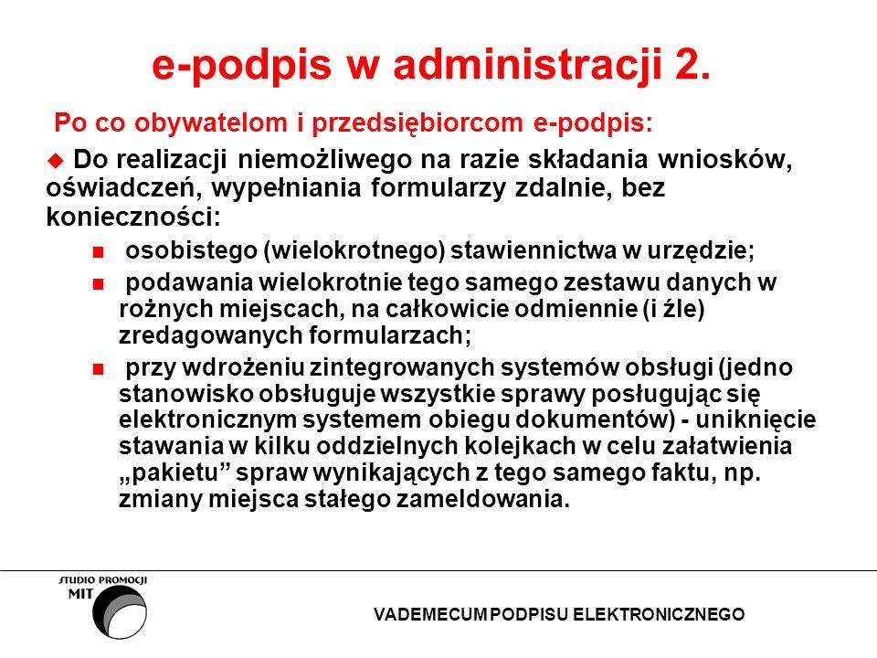 e-podpis w administracji 2. Po co obywatelom i przedsiębiorcom e-podpis: Do realizacji niemożliwego na razie składania wniosków, oświadczeń, wypełnian