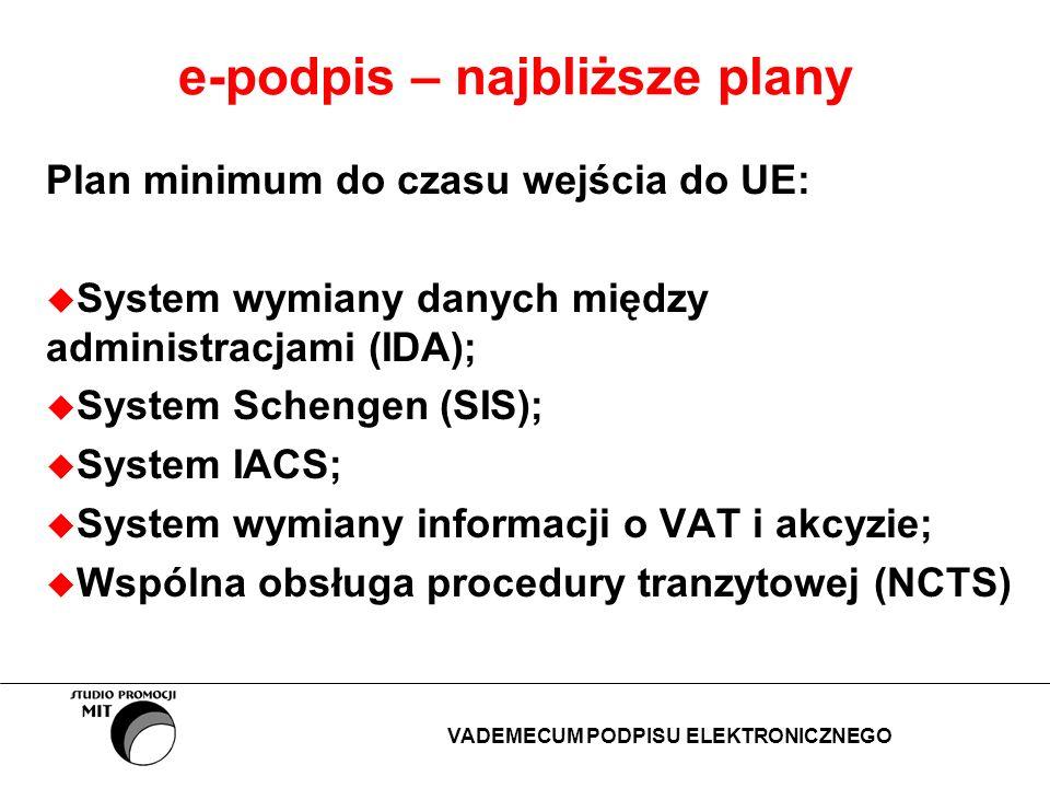 e-podpis – najbliższe plany Plan minimum do czasu wejścia do UE: System wymiany danych między administracjami (IDA); System Schengen (SIS); System IAC