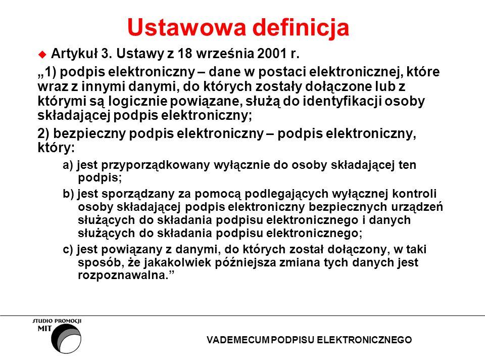 Ustawowa definicja Artykuł 3. Ustawy z 18 września 2001 r. 1) podpis elektroniczny – dane w postaci elektronicznej, które wraz z innymi danymi, do któ