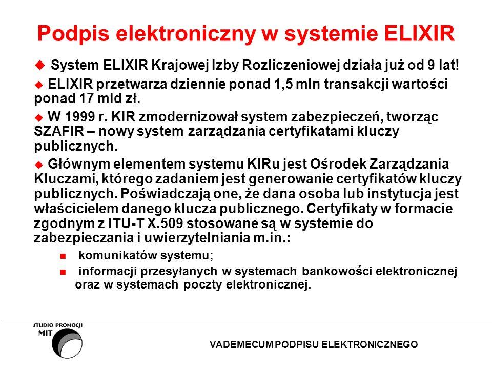 Podpis elektroniczny w systemie ELIXIR System ELIXIR Krajowej Izby Rozliczeniowej działa już od 9 lat! ELIXIR przetwarza dziennie ponad 1,5 mln transa