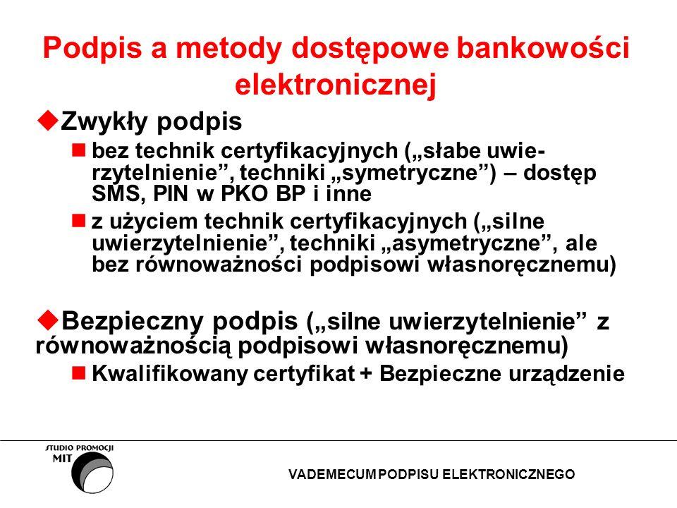 Podpis elektroniczny z użyciem technik asymetrycznych w wybranych systemach bankowości Podpisy w systemach Pl@net (Fortis Bank), Sez@m (PBK BPH), ING/BSKOnline (ING Bank Śląski : para kluczy asymetrycznych (klucz prywatny, klucz publiczny); klucz prywatny jest zaszyfrowany przy użyciu algorytmu 3DES (Sez@m, ING/BSKOnline) podpisy cyfrowe generowane są przy użyciu algorytmu DSA/SHA (Pl@net ) lub RSA (Sez@m); podpis jest generowany w przeglądarce WWW przez tzw.