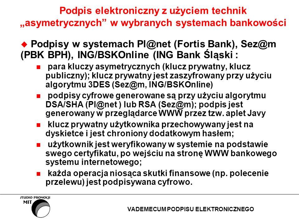 Podpis elektroniczny z użyciem technik asymetrycznych w wybranych systemach bankowości Podpisy w systemach Pl@net (Fortis Bank), Sez@m (PBK BPH), ING/
