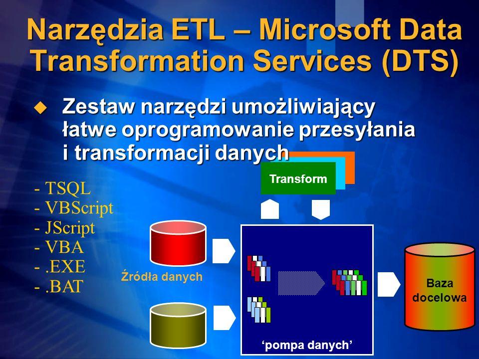 - - TSQL - - VBScript - - JScript - - VBA - -.EXE - -.BAT pompa danych Baza docelowa Transform Źródła danych Narzędzia ETL – Microsoft Data Transforma