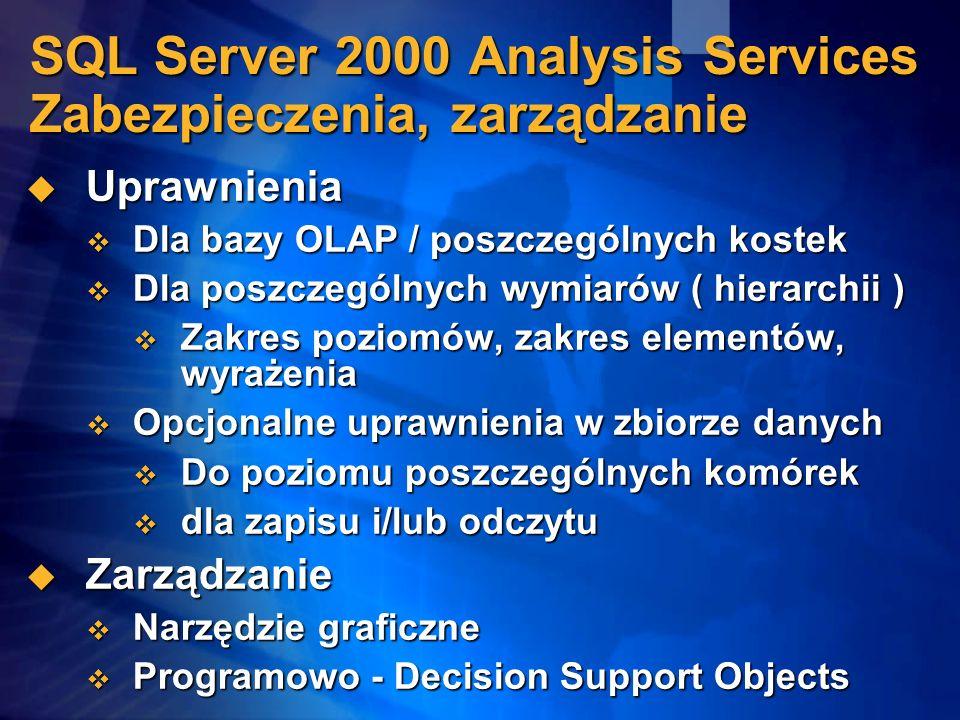 SQL Server 2000 Analysis Services Zabezpieczenia, zarządzanie Uprawnienia Uprawnienia Dla bazy OLAP / poszczególnych kostek Dla bazy OLAP / poszczegól