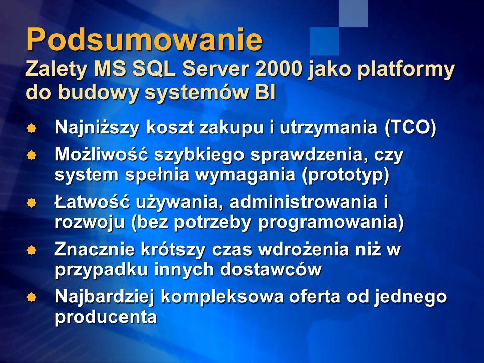 Podsumowanie Zalety MS SQL Server 2000 jako platformy do budowy systemów BI Najniższy koszt zakupu i utrzymania (TCO) Najniższy koszt zakupu i utrzymania (TCO) Możliwość szybkiego sprawdzenia, czy system spełnia wymagania (prototyp) Możliwość szybkiego sprawdzenia, czy system spełnia wymagania (prototyp) Łatwość używania, administrowania i rozwoju (bez potrzeby programowania) Łatwość używania, administrowania i rozwoju (bez potrzeby programowania) Znacznie krótszy czas wdrożenia niż w przypadku innych dostawców Znacznie krótszy czas wdrożenia niż w przypadku innych dostawców Najbardziej kompleksowa oferta od jednego producenta Najbardziej kompleksowa oferta od jednego producenta