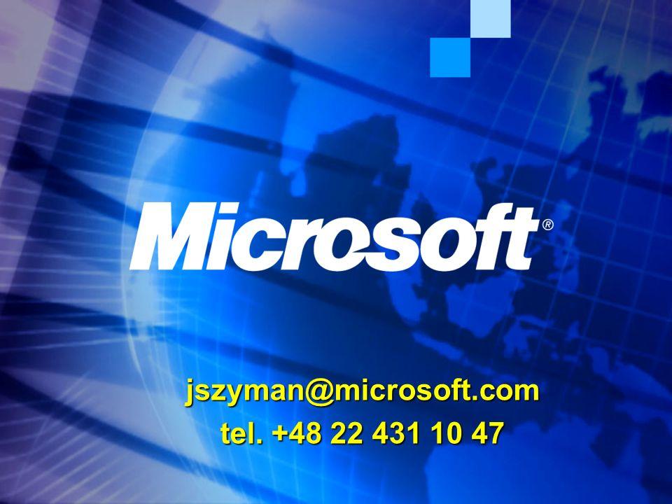 jszyman@microsoft.com tel. +48 22 431 10 47