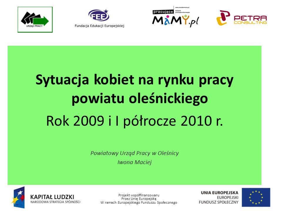 Projekt współfinansowany Przez Unię Europejską W ramach Europejskiego Funduszu Społecznego Sytuacja kobiet na rynku pracy powiatu oleśnickiego Rok 2009 i I półrocze 2010 r.