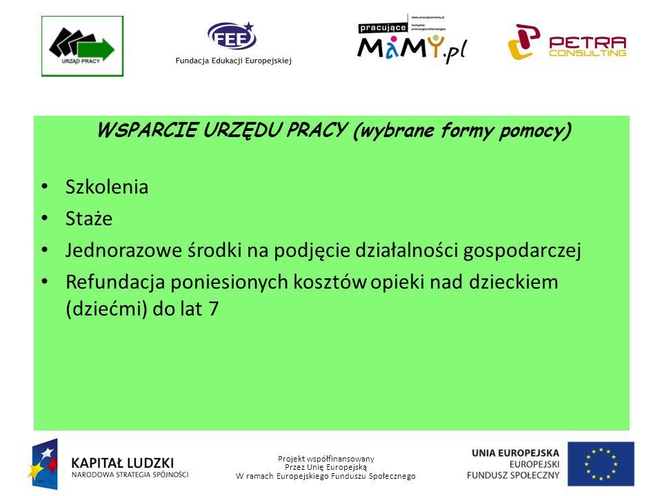 Projekt współfinansowany Przez Unię Europejską W ramach Europejskiego Funduszu Społecznego WSPARCIE URZĘDU PRACY (wybrane formy pomocy) Szkolenia Staże Jednorazowe środki na podjęcie działalności gospodarczej Refundacja poniesionych kosztów opieki nad dzieckiem (dziećmi) do lat 7