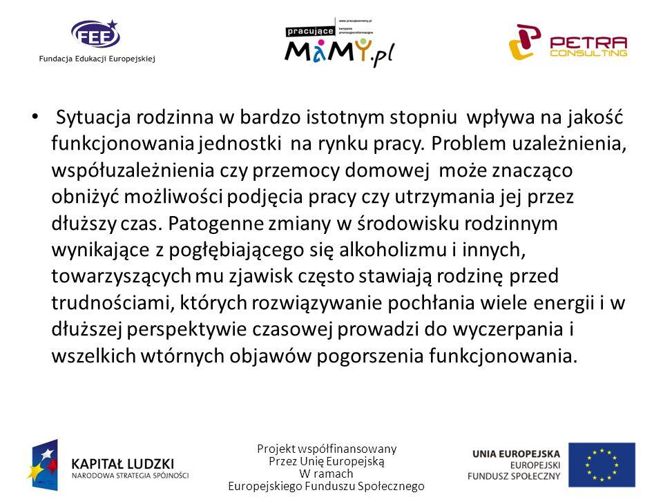 Projekt współfinansowany Przez Unię Europejską W ramach Europejskiego Funduszu Społecznego Sytuacja rodzinna w bardzo istotnym stopniu wpływa na jakoś