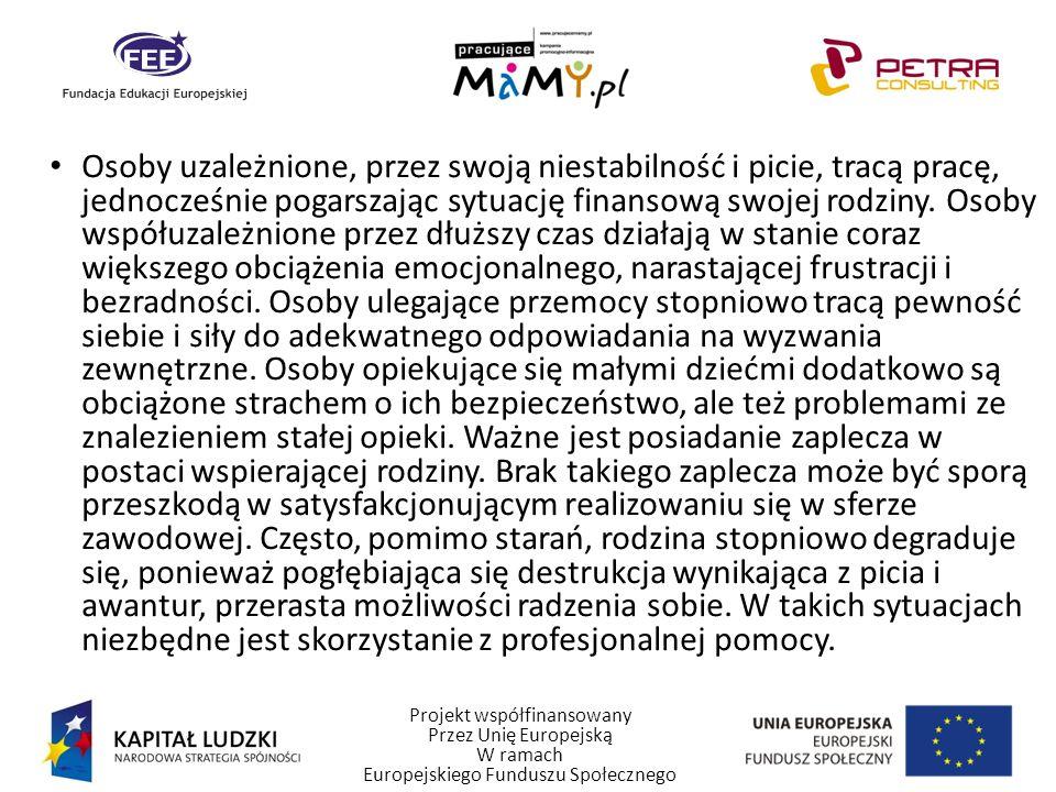 Projekt współfinansowany Przez Unię Europejską W ramach Europejskiego Funduszu Społecznego Osoby uzależnione, przez swoją niestabilność i picie, tracą