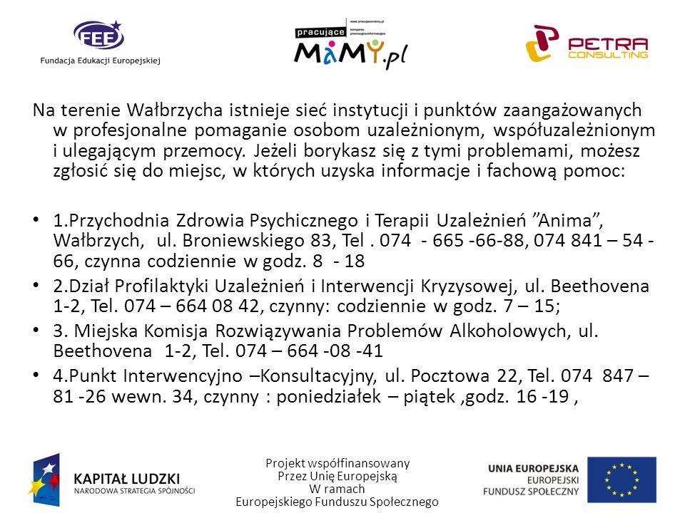 Projekt współfinansowany Przez Unię Europejską W ramach Europejskiego Funduszu Społecznego Na terenie Wałbrzycha istnieje sieć instytucji i punktów za