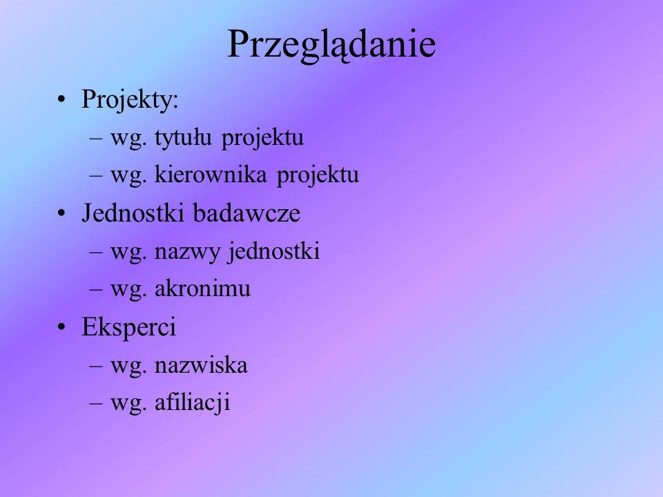Przeglądanie Projekty: –wg. tytułu projektu –wg. kierownika projektu Jednostki badawcze –wg.