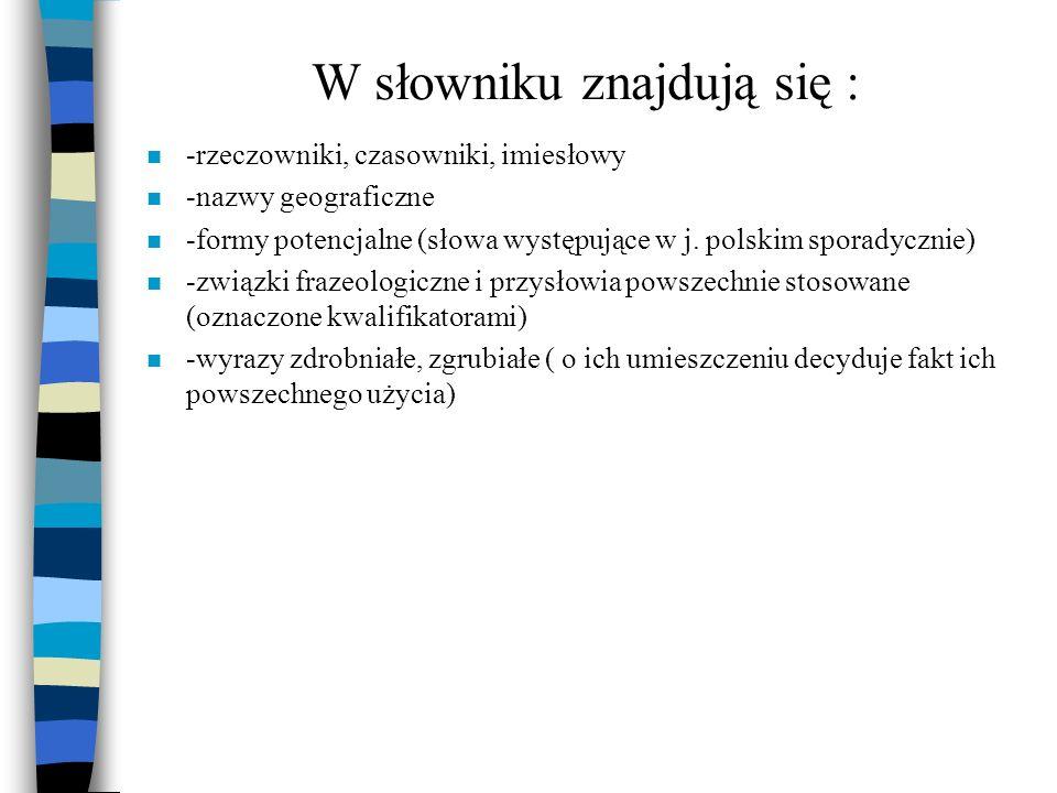 W słowniku znajdują się : n -rzeczowniki, czasowniki, imiesłowy n -nazwy geograficzne n -formy potencjalne (słowa występujące w j. polskim sporadyczni