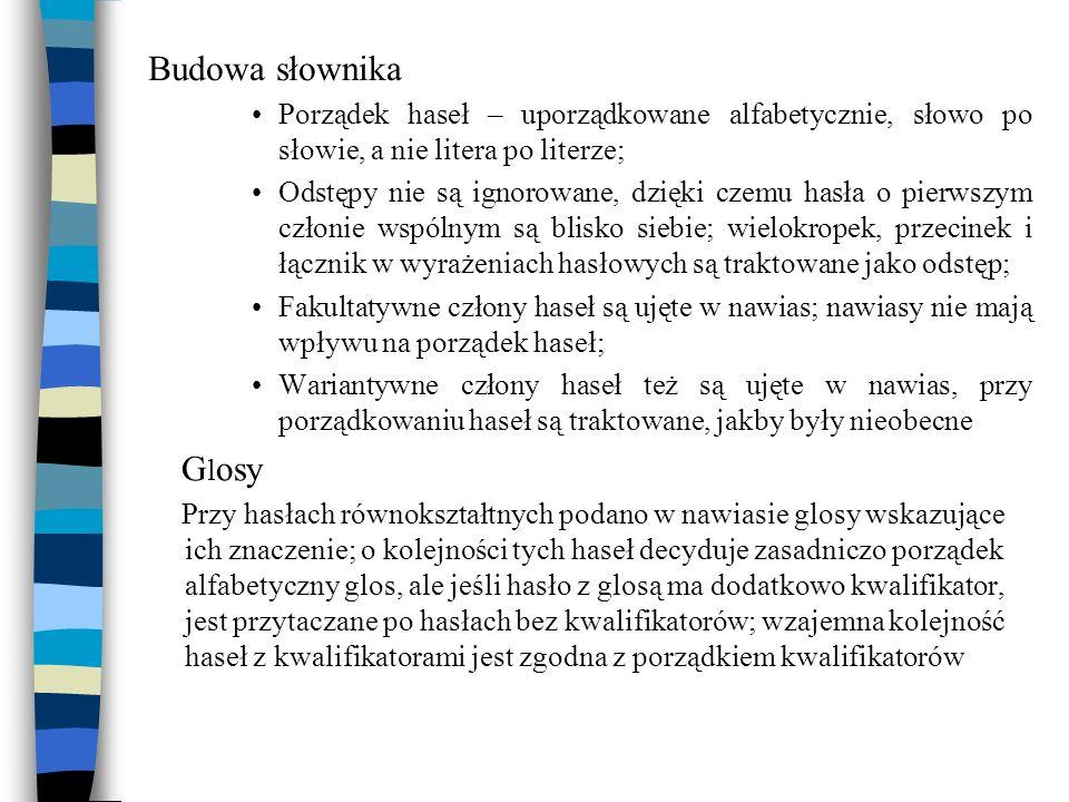 Budowa słownika Porządek haseł – uporządkowane alfabetycznie, słowo po słowie, a nie litera po literze; Odstępy nie są ignorowane, dzięki czemu hasła