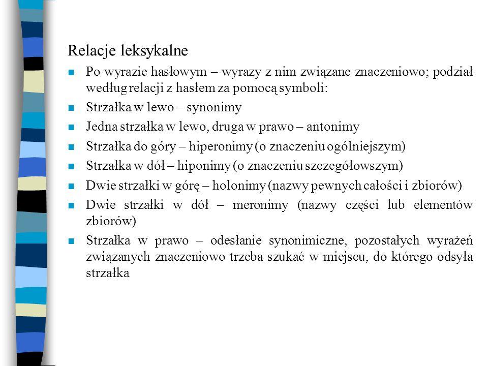 Relacje leksykalne n Po wyrazie hasłowym – wyrazy z nim związane znaczeniowo; podział według relacji z hasłem za pomocą symboli: n Strzałka w lewo – s