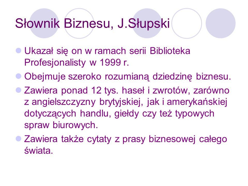 Słownik Biznesu, J.Słupski Budowa hasła: nazwa angielska, [wymowa], definicja po angielsku, odpowiednik polski.