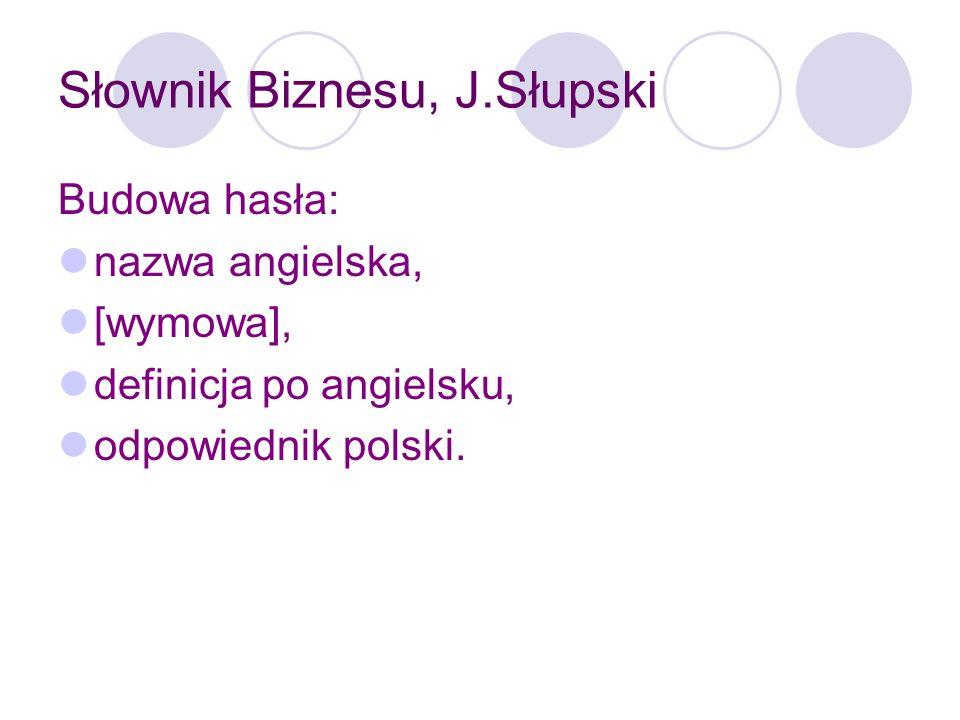 Słownik Biznesu, J.Słupski Słownik zawiera wiele przydatnych suplementów m.in.