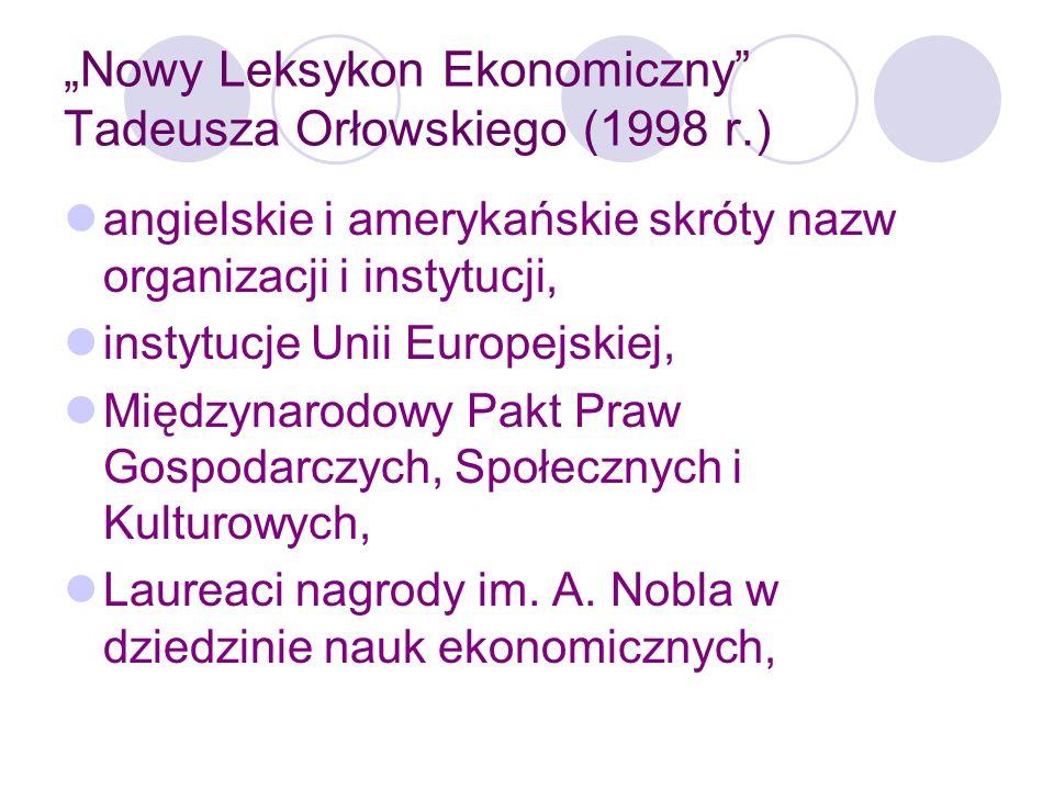 Nowy Leksykon Ekonomiczny Tadeusza Orłowskiego (1998 r.) Konstytucja RP, rozdz.