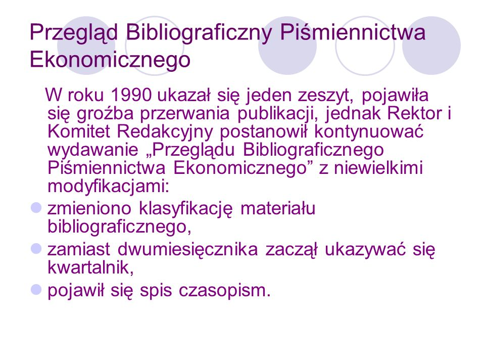 Przegląd Bibliograficzny Piśmiennictwa Ekonomicznego Od 2001 r.