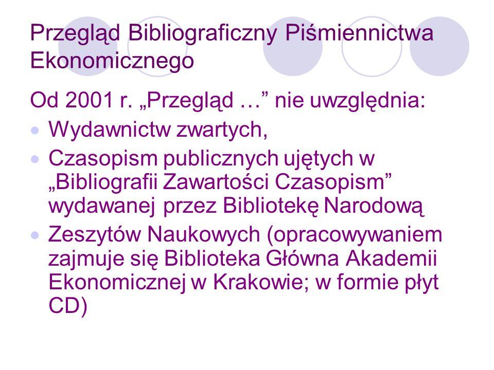 Przegląd Bibliograficzny Piśmiennictwa Ekonomicznego Zmiana ta była podyktowana min.