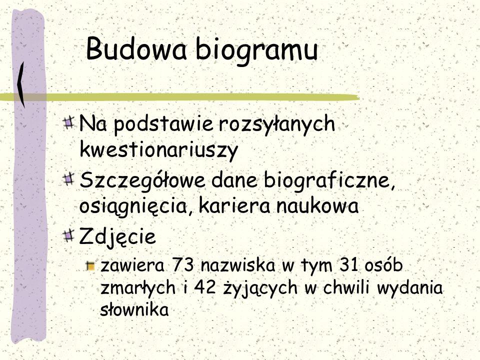 Zawiera: Biogramy osób które wniosły do piśmiennictwa polskiego z zakresu dydaktyki geografii co najmniej 10 publikacji bądź mają inne wazne osiągnięc