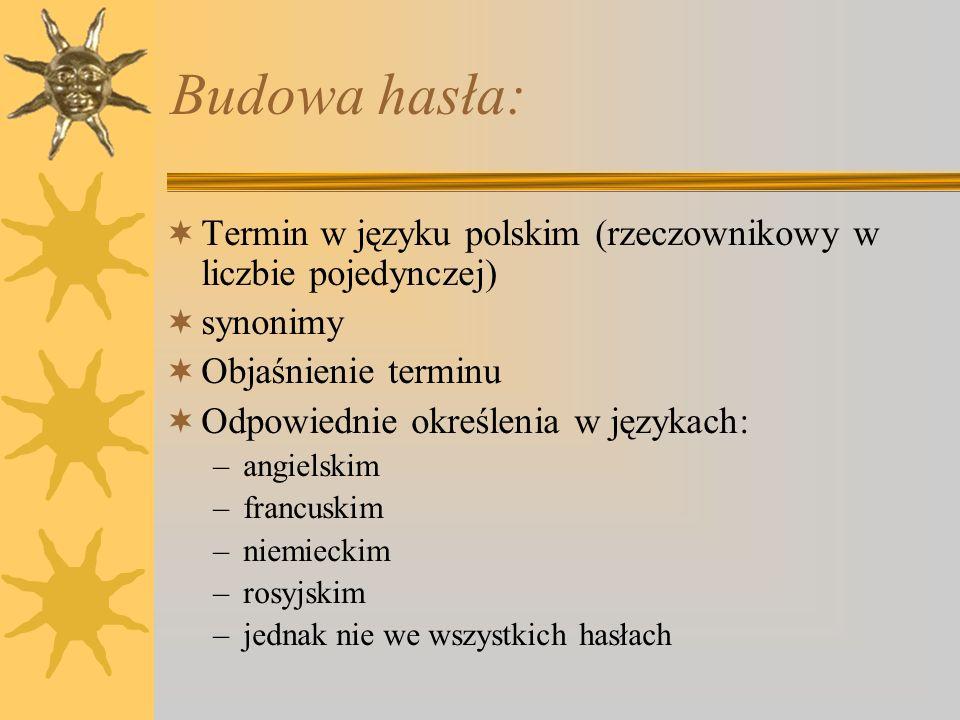 Zawiera: 1425 haseł w układzie alfabetycznym –W porównaniu do pierwszego wydania zawiera nowe hasła m.in.