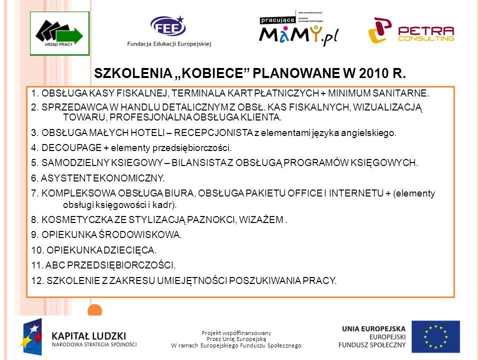 Projekt współfinansowany Przez Unię Europejską W ramach Europejskiego Funduszu Społecznego SZKOLENIA KOBIECE PLANOWANE W 2010 R. 1. OBSŁUGA KASY FISKA