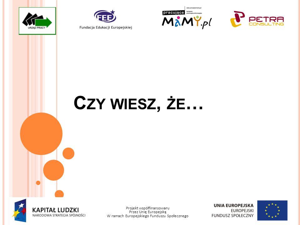 Projekt współfinansowany Przez Unię Europejską W ramach Europejskiego Funduszu Społecznego C ZY WIESZ, ŻE …