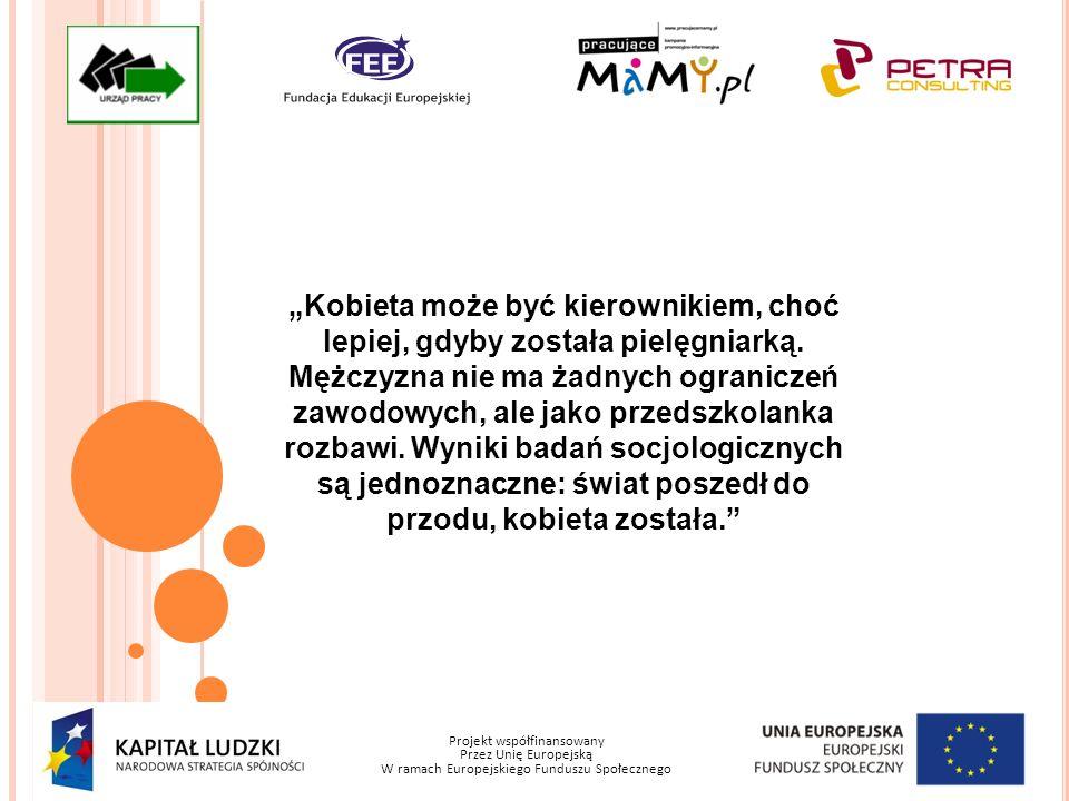 Projekt współfinansowany Przez Unię Europejską W ramach Europejskiego Funduszu Społecznego Kobieta może być kierownikiem, choć lepiej, gdyby została p