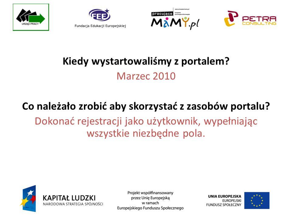 Kiedy wystartowaliśmy z portalem. Marzec 2010 Co należało zrobić aby skorzystać z zasobów portalu.