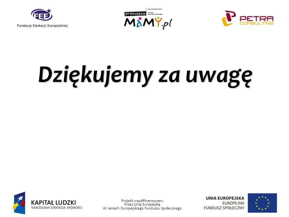 Projekt współfinansowany Przez Unię Europejską W ramach Europejskiego Funduszu Społecznego Dziękujemy za uwagę